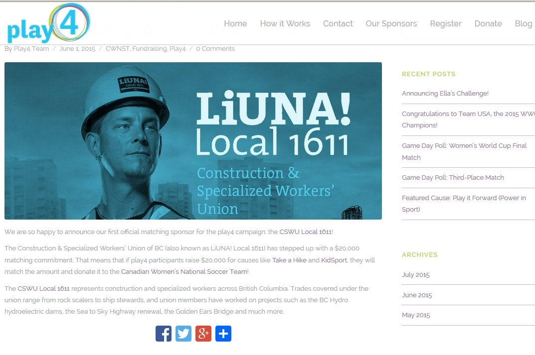 LiUNA Local 1611, GOplay4, CSWU Local 1611, kids sports
